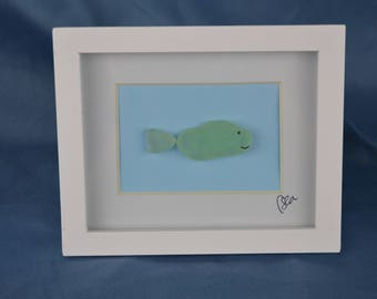 Seaglass whale, seaglass art, 4in x 5in framed color seaglass, coastal decor, fish, fishing gift