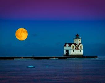 Moonrise over Lake Michigan Greeting Card