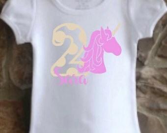 girls' personalized unicorn birthday shirt vinyl custom