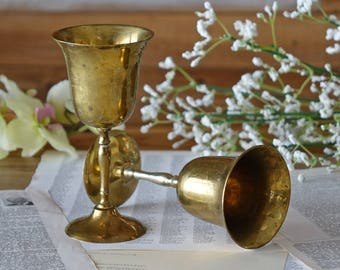 Pair vintage wine goblets - 2 brass wine glasses - Brass cups - Shabby chic goblets - Hollywood regency barware