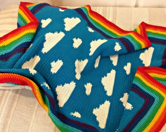 Blue Skies and Fluffy White Clouds Crochet Blanket, Baby Blanket, Cotton Blanket, Crocheted Throw, Vegan Blanket