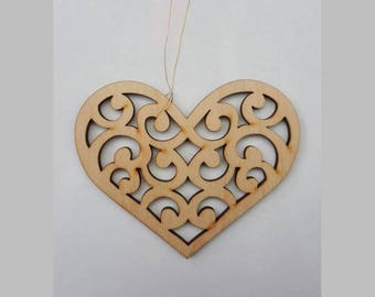 Wooden Christmas heart, tree decoration heart, Christmas decoration ornament, Christmas ornament heart, wooden toy.