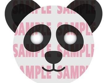 Panda Face Mask - Cut Out - Printable Instant Digital Download - Animal Mask