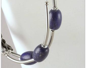 Two rows lapis lazuli bracelet, a deep blue stone - 123Pierres jewelry