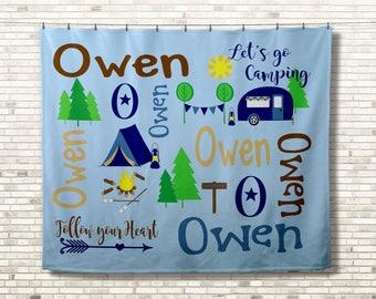 Personalized Camping Blanket, Monogrammed Blanket, Birthday Gift for Kids, Printed Blanket, Memory Blanket, Camping Lover Gift, Gift for Him