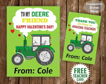 Tractor / Valentine Card / Farm / Valentines Card / Valentine's Day / Personalized / green / yellow / Valentine Tags teacher Kids VCard44