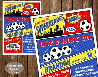Soccer / Birthday / Invitation / Superhero / Sports / Party / Invite / Superheroes / Boy / Ball / Red / Blue / Yellow / All star /BDSH4