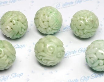 Hand Carved Natural Green Color Jadeite Bead: 19.5mm, 20mm