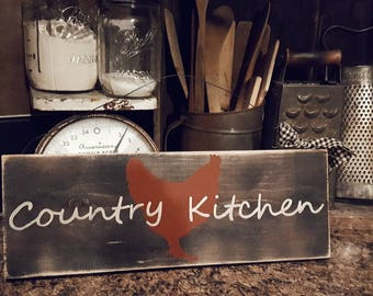 Rooster Country Kitchen Sign