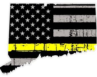 Connecticut State (E9) Thin Yellow Line Dispatch Vinyl Decal Sticker Car/Truck Laptop/Netbook Window