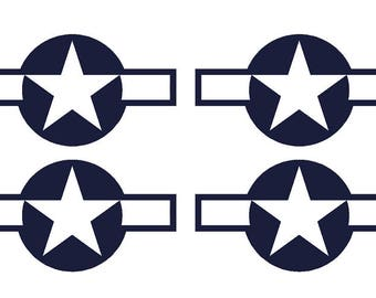 "Set of 4 Remote Control (RC4) Blue White Stars and Bar 9"" RC Airplane Sticker Decal"