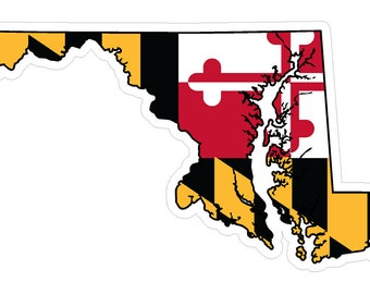 Maryland State (Q21) Shape Flag Vinyl Decal Sticker Car/Truck Laptop/Netbook Window