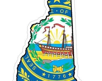New Hampshire State (Q30) Shape Flag Vinyl Decal Sticker Car/Truck Laptop/Netbook Window