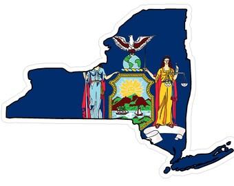 New York State (Q33) Shape Flag Vinyl Decal Sticker Car/Truck Laptop/Netbook Window