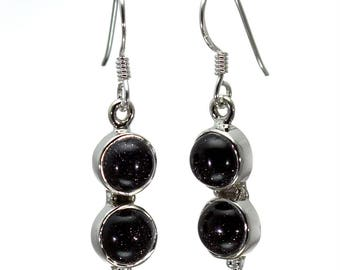 Blue Goldstone Earrings, 925 Sterling Silver, Unique only 1 piece available! color black, weight 3.8g, #26933