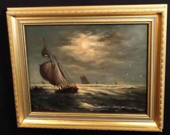 Antique 19th C ca. 1890 G W Thornley ships sailing moonlight listed European artist