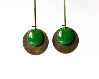 Long sequin boueille green enamel earrings