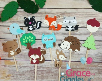 12 Woodland Themed Cupcake Toppers (READY TO SHIP!)