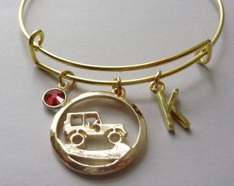 Over Road JEEP Charm Bangle / Personalize W/  Swarovski Birthstone / Jeep Bangle /- Beach bangle - Gift For Yer - Made In USA  J1