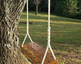 Carved Wood Tree Swing Solid Oak Personalized Large Seat