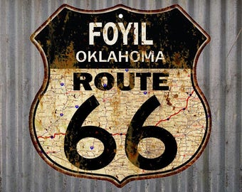 Foyil, Oklahoma Route 66 Vintage Look Rustic 12X12 Metal Shield Sign S122214