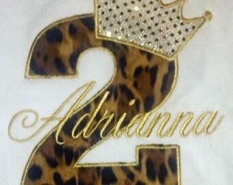 Leopard Gold Princess 2nd Birthday Shirt Girls Princess 2nd Birthday Shirt Gold Girls Birthday Shirt Leopard and Gold Shirt Princess Onesie