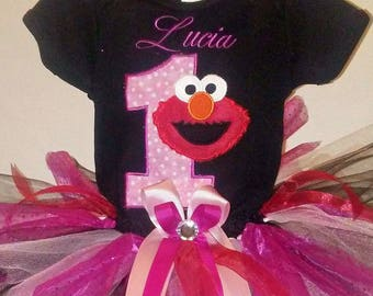 Pink and Black Elmo 1st Birthday Outfit Pink Elmo 1st Birthday Outfit Elmo 1st Birthday Shirt Elmo 1st Birthday Onesie Elmo Shirt Birthday
