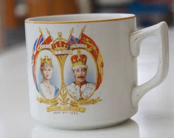 Vintage, Silver Jubilee, May 6th 1935, King George V, and Queen Mary, Cup, England, Royalty, English, Collectible, Display, Home Decor, Gift