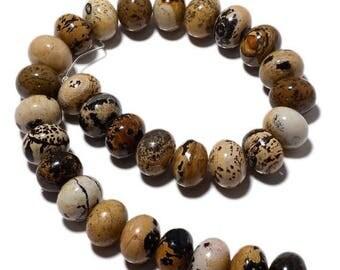 ON SALE 50% Picture Jasper Beads, Picture Jasper Rondelles, 18mm Beads, 15 Inch Strand, SKU-Mm35