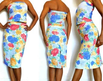 Water Colors Floral Print Pencil Skirt