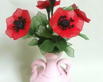 poppy flower vase,handmade red poppies,poppy flowers, nylon poppy flowers,unique handmade flowers,handmade red poppies,poppy,poppy flower