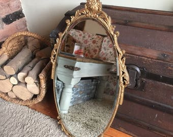Beautiful Gold Ornate Oval Mirror - Old Mirror in Exellent condition!