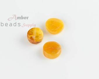 Dark yellow Amber beads, Jewelry Beads, Beads supplies, Amber beads, Baltic amber, 3 pieces, Natural amber, MO236