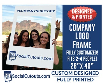 Photo Prop Frame with Company Logo Fully Customized and Printed Photo Booth Selfie Frame Photo Booth Frame for company marketing Selfie Prop