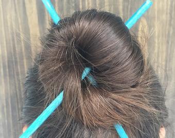 Set of 2 Hair Sticks | Hair Chopsticks | Plain Blue Watercolor Hair Accessory