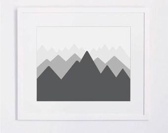 Mountain Range, Grayscale Clean Modern