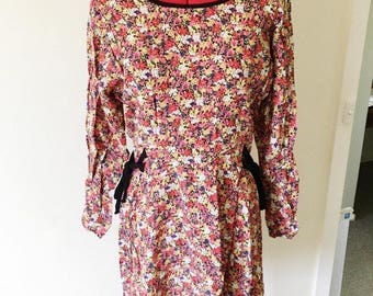 Floral vintage skater dress with waist bows