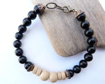 Bracelet for men onyx and lemon tree wood beads.