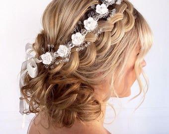 Bridal Headband, Bridal Hair Vine, Wedding Hair Accessory, Bridal Vine Headband, Bridal Headpiece, Bridal Hair Jewelry, Bridal Headband Vine