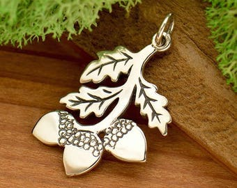 925 Sterling Silver Acorn Oak Tree Nature Autumn Fall Harvest Woodland Charm Three Acorn Branch Necklace 40cm 45cm good luck charm 1784