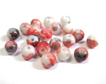 20 speckled red and black 6mm white glass beads