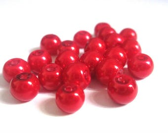 20 Red Pearl glass 6mm (F-28) beads