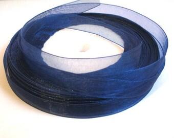 5 m organza Ribbon Midnight Blue 10mm