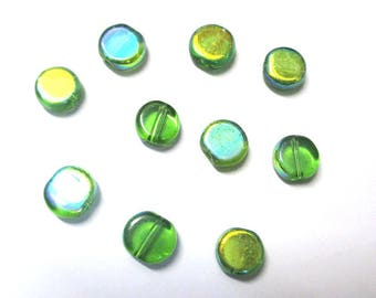 10 round beads and flat electroplate plated ab Green 8mm