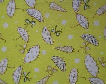 1 yellow patterned umbrellas 10x12cm 100% cotton fabric coupon