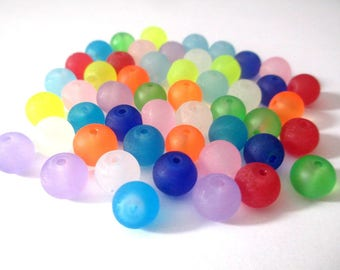 50 frosted glass beads mix color 8mm (E-35)