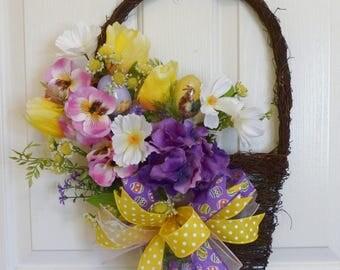 Easter Wall Basket, Easter Door Swag, Spring Door Hanger