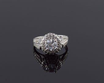 10k 1.50 CTW Halo White CZ Travel Engagement Ring Gold