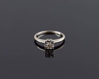 Retro Diamond Decorative Bridge Engagement Ring Size 6.5 Gold