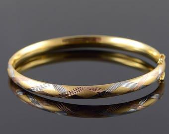 "14k 6.1mm Criss Cross Tri Color Accented Hollow Bangle Bracelet Gold 2.5"""